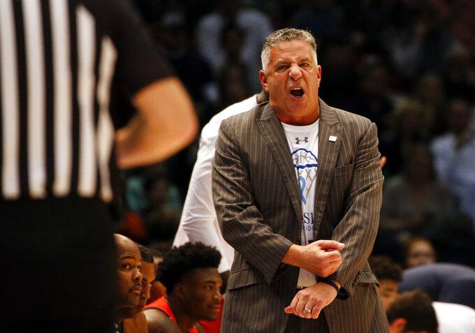 Auburn head coach Bruce Pearl reacts during the first half of an NCAA college basketball game against Saint Louis, Saturday, Dec. 14, 2019, in Birmingham, Ala. (AP Photo/Butch Dill)
