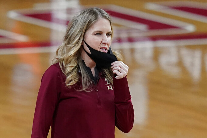 Boston College head coach Joanna Bernabei-McNamee reacts on the sideline in the second half of an NCAA college basketball game against Louisville, Thursday, Feb. 4, 2021, in Boston. (AP Photo/Elise Amendola)