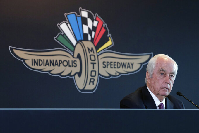 FILE - In this Monday, Nov. 4, 2019, file photo, Penske Corporation Chairman Roger Penske responds to a question during a press conference at Indianapolis Motor Speedway in Indianapolis. There was always going to be an Indianapolis 500 this year, be it with full fans, limited fans or, where Indianapolis Motor Speedway finally landed, with no fans at all. Roger Penske has been determined for this staple of American sporting events to go on and the track will open Wednesday, Aug. 12 for activity. (AP Photo/AJ Mast, File)