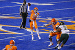 Boise State quarterback Hank Bachmeier (19) throws a pass against Colorado State during the first half of an NCAA college football game Thursday, Nov. 12, 2020, in Boise, Idaho. (AP Photo/Steve Conner)