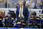 St. Louis Blues head coach Craig Berube watches the action during the second period of Game 6 of the NHL hockey Stanley Cup Final between the Blues and the Boston Bruins Sunday, June 9, 2019, in St. Louis. (AP Photo/Scott Kane)