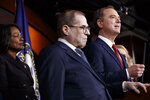 House Democratic impeachment managers Rep. Val Demings, D-Fla., left, Judiciary Committee Chairman Jerrold Nadler, D-N.Y., and House Intelligence Committee Chairman Adam Schiff, D-Calif., attend a news conference, Tuesday, Jan. 28, 2020, on Capitol Hill in Washington. (AP Photo/ Jacquelyn Martin)