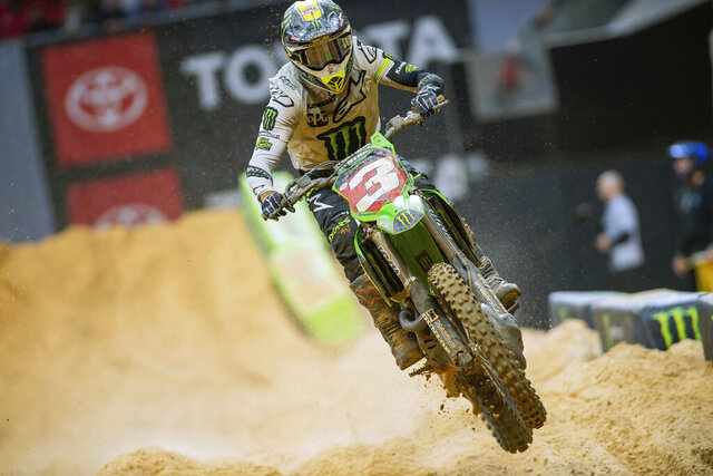 This Feb. 29, 2020, photo provided by Feld Entertainment Inc., shows Eli Tomac competing in a Supercross event at Mercedes-Benz Stadium in Atlanta. Supercross returns Sunday, May 31, 2020, in Utah for the first time since shutting down due to the coronavirus pandemic. The race is the first of seven at the University of Utah's Rice-Eccles Stadium as the circuit tries to close out its season. Tomac leads German Ken Roczen by three points through the first 10 races. (Feld Entertainment Inc. via AP)