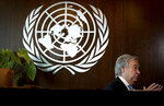 United Nations Secretary-General António Guterres speaks during an interview, Wednesday Oct. 21, 2020, at U.N. headquarters. (AP Photo/Bebeto Matthews)