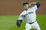 Seattle Mariners starting pitcher Nick Margevicius throws against the Houston Astros during the first inning of a baseball game, Wednesday, Sept. 23, 2020, in Seattle. (AP Photo/Ted S. Warren)
