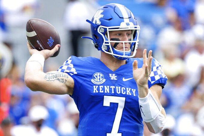Kentucky quarterback Will Levis (7) throws a pass during the first half of a NCAA college football game against Chattanooga in Lexington, Ky., Saturday, Sept. 18, 2021. (AP Photo/Michael Clubb)