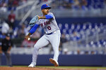 New York Mets' Marcus Stroman winds up during the first inning of the team's baseball game against the Miami Marlins, Thursday, Sept. 9, 2021, in Miami. (AP Photo/Wilfredo Lee)