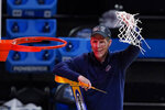 Gonzaga head coach Mark Few celebrates after an Elite 8 game against Southern California in the NCAA men's college basketball tournament at Lucas Oil Stadium, Tuesday, March 30, 2021, in Indianapolis. Gonzaga won 85-66. (AP Photo/Darron Cummings)