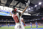 Tampa Bay Buccaneers wide receiver Scott Miller celebrates after his 33-yard reception for a touchdown during the first half of an NFL football game against the Detroit Lions, Sunday, Dec. 15, 2019, in Detroit. (AP Photo/Rick Osentoski)
