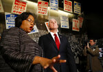 Director of Interpretation, Collections and Education Noelle Trent leads Vice President Mike Pence on a tour of the National Civil Rights Museum in Memphis Sunday, Jan. 19, 2020 during a one-day trip in honor of the Rev. Martin Luther King, Jr. (Joe Rondone/The Commercial Appeal via AP)