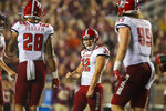 North Carolina State place kicker Christopher Dunn (32) reacts to a field goal against Florida State in the first half of an NCAA college football game in Tallahassee, Fla., Saturday, Sept. 28, 2019. (AP Photo/Mark Wallheiser)