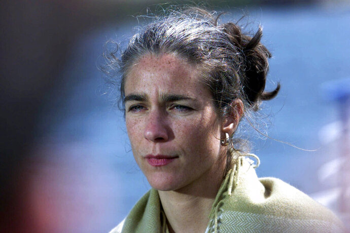 FILE - This June 15, 2001, file photo shows Dr. Rebecca Gomperts, founder of the Amsterdam-based Women On Waves Foundation, in Dublin, Ireland. The Austrian doctor who prescribes abortion drugs to patients around the world is suing the United States for allegedly blocking her American patients from getting abortions by seizing their prescriptions. She filed the lawsuit in U.S. District Court in Idaho on Monday, Sept. 9. 2019. (AP Photo/Charlie Collins, File)