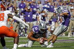 Kansas State place kicker Blake Lynch (10) kicks a field goal during the first half of an NCAA college football game against Bowling Green Saturday, Sept. 7, 2019, in Manhattan, Kan. (AP Photo/Charlie Riedel)