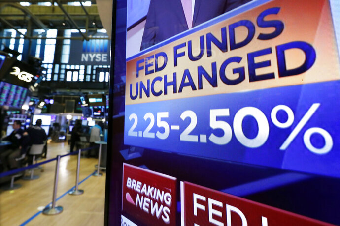 A screen on the floor of the New York Stock Exchange shows the rate decision of the Federal Reserve, Wednesday, March 20, 2019. The Federal Reserve is leaving its key interest rate unchanged and projecting no rate hikes in 2019, dramatically underscoring its plan to be
