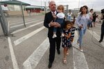 EDS NOTE : SPANISH LAW REQUIRES THAT THE FACES OF MINORS ARE MASKED IN PUBLICATIONS WITHIN SPAIN. Accompanied by family members, former Venezuelan military spy chief, retired Maj. Gen. Hugo Carvajal, center, walks out of prison in Estremera, outskirts of Madrid, Spain, Sunday, Sept. 15, 2019. Spain's National Court has rejected the extradition to the United States of a former Venezuelan military spy chief accused of drug smuggling and other charges. Within hours of Monday's ruling, the court released retired Maj. Gen. Hugo Carvajal, who claimed that the extradition request was politically motivated. (AP Photo/Manu Fernandez)