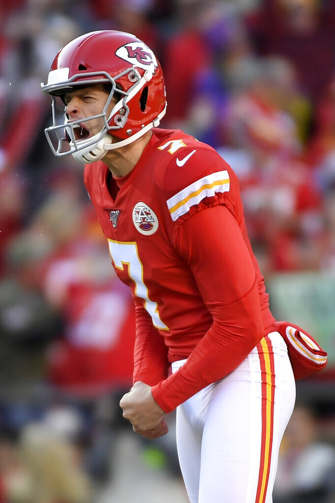 Kansas City Chiefs kicker Harrison Butker (7) celebrates after making a 54-yard field goal against the Minnesota Vikings during the second half of an NFL football game in Kansas City, Mo., Sunday, Nov. 3, 2019. (AP Photo/Reed Hoffmann)