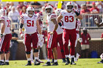 Nebraska offensive lineman Cameron Jurgens (51), quarterback Adrian Martinez, center, and tight end Travis Vokolek (83) look at the scoreboard following a penalty in the first half of an NCAA college football game against Oklahoma, Saturday, Sept. 18, 2021, in Norman, Okla. (AP Photo/Sue Ogrocki)