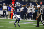 Dallas Cowboys cornerback Jourdan Lewis (27) celebrates after a tackle in the second half of an NFL football game against the Los Angeles Rams in Arlington, Texas, Sunday, Dec. 15, 2019. (AP Photo/Ron Jenkins)