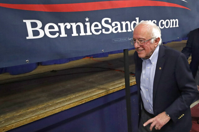 Democratic presidential candidate Sen. Bernie Sanders, D-Vt., leaves after speaking at a campaign event, Friday, Dec. 13, 2019, in Manchester, N.H. (AP Photo/Elise Amendola)