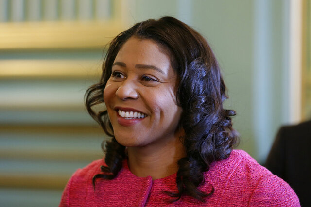 FILE - In this Nov. 1, 2019, file photo, San Francisco Mayor London Breed waits to speak at a luncheon in San Francisco. Last month Mayor Breed dined at the same three-star Michelin restaurant a night after California Gov. Gavin Newsom did in Yountville, Calif. (AP Photo/Eric Risberg, File)
