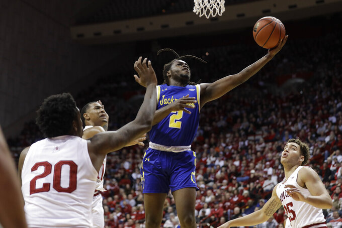 South Dakota State's Tray Buchanan (2) shoots during the second half of an NCAA college basketball game against Indiana, Saturday, Nov. 30, 2019, in Bloomington, Ind. (AP Photo/Darron Cummings)
