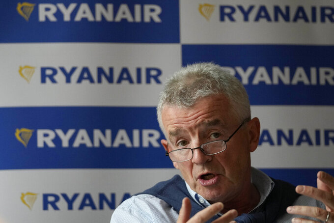 Chief Executive of Ryanair, Michael O'Leary, speaks during a press conference in London, Tuesday, Aug. 31, 2021.(AP Photo/Frank Augstein)