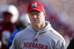 FILE - In this Nov. 16, 2019, file photo, Nebraska head coach Scott Frost walks off the field following an NCAA college football game against Wisconsin, in Lincoln, Neb. Nebraska  (4-6, 2-5 Big Ten) travels to Maryland  (3-7, 1-6) for a Saturday, Nov. 23 game. (AP Photo/Nati Harnik, File)