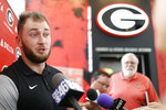 Georgia NCAA college football tight end Isaac Nauta speaks to the media on the first day of fall camp in Athens, Ga., Friday, Aug. 3, 2018.  (Joshua L. Jones/Athens Banner-Herald via AP)