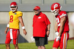 Kansas City Chiefs head coach Andy Reid watches a drill during an NFL football training camp Saturday, Aug. 15, 2020, in Kansas City, Mo. (AP Photo/Charlie Riedel)