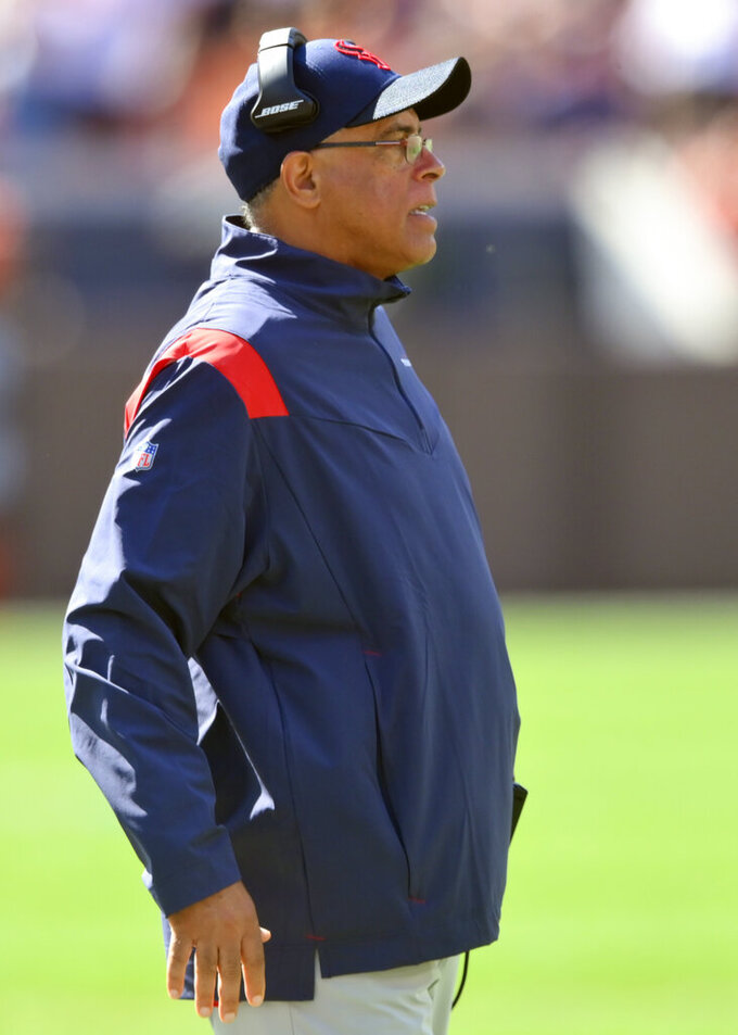 Houston Texans head coach David Culley watches during the first half of an NFL football game against the Cleveland Browns, Sunday, Sept. 19, 2021, in Cleveland. (AP Photo/David Richard)