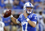 Duke quarterback Daniel Jones (17) looks to pass against Army during the first half of an NCAA college football game in Durham, N.C., Friday, Aug. 31, 2018. (AP Photo/Gerry Broome)