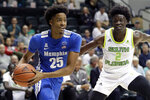 Memphis guard Jayden Hardaway (25) drives around South Florida guard Ezacuras Dawson III (2) during the first half of an NCAA college basketball game Sunday, Jan. 12, 2020, in Tampa, Fla. (AP Photo/Chris O'Meara)