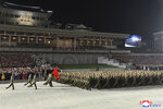 """In this photo provided by the North Korean government, North Korean solders parade during a celebration of the nation's 73rd anniversary that was overseen by leader Kim Jong Un, at Kim Il Sung Square in Pyongyang, North Korea, early Thursday, Sept. 9, 2021. Independent journalists were not given access to cover the event depicted in this image distributed by the North Korean government. The content of this image is as provided and cannot be independently verified. Korean language watermark on image as provided by source reads: """"KCNA"""" which is the abbreviation for Korean Central News Agency. (Korean Central News Agency/Korea News Service via AP)"""