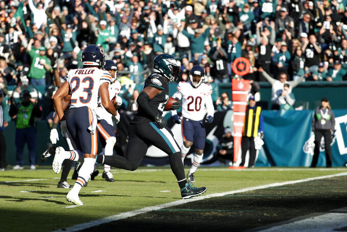 Philadelphia Eagles' Jordan Howard scores a touchdown during the second half of an NFL football game against the Chicago Bears, Sunday, Nov. 3, 2019, in Philadelphia. (AP Photo/Chris Szagola)