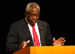 Supreme Court Justice Clarence Thomas speaks on Thursday, Sept. 16, 2021, at the University of Notre Dame in South Bend, Ind. The associate justice gave the Tocqueville Lecture for the Center for Citizenship & Constitutional Government at the university. (Robert Franklin/South Bend Tribune via AP)