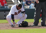 Minnesota Twins Jordany Valdespin reacts after being hit by a pitch in the eighth inning of their spring training baseball game against the Boston Red Sox in Fort Myers, Fla., Friday, March 1, 2019. (AP Photo/Gerald Herbert)