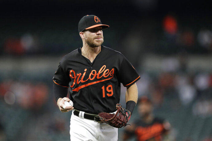 FILE - In this Sept. 20, 2019, file photo, Baltimore Orioles first baseman Chris Davis warms up during the first inning of a baseball game against the Seattle Mariners in Baltimore. Following three straight frustrating seasons that led him to consider retirement, Davis was in the midst of an outstanding spring training when Major League baseball screeched to a halt because of the deadly coronavirus. Now, as he strives to find ways to keep his three daughters amused while confined to his house. Davis remains confident that he's poised to return to the form he displayed in 2015. (AP Photo/Julio Cortez, File)