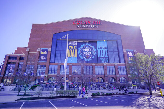 Exterior general view of Lucas Oils Stadium before a college basketball game during the Final Four round of the NCAA tournament in Indianapolis, Saturday, April 3, 2021. (AP Photo/AJ Mast)