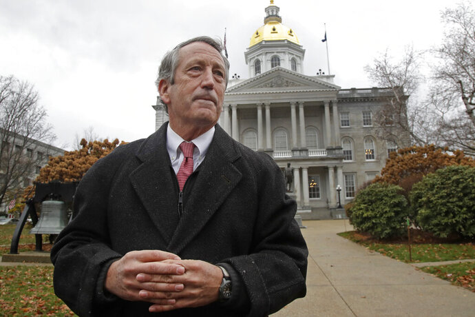 Republican presidential candidate former South Carolina Gov. Mark Sanford speaks during a news conference in front of the Statehouse, Tuesday, Nov. 12, 2019, in Concord, N.H., where he announced he is ending his longshot 2020 presidential bid. Sanford centered his Republican primary challenge to President Donald Trump on warnings about the national debt. But he struggled to gain traction since announcing his run in September. (AP Photo/Elise Amendola)