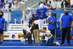 Boise State wide receiver Khalil Shakir (2) reaches back to grab the ball on a 31-yard reception next to UTEP safety Ty'reke James (3) during the first half of an NCAA college football game Friday, Sept. 10, 2021, in Boise, Idaho. (AP Photo/Steve Conner)