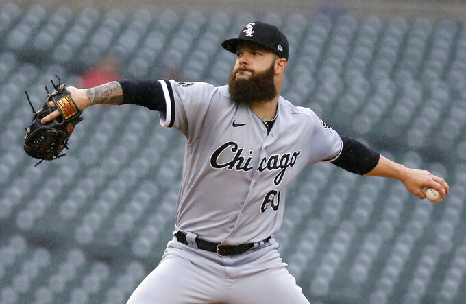 Chicago White Sox starting pitcher Dallas Keuchel delivers against the Detroit Tigers during the first inning of a baseball game Tuesday, Sept. 21, 2021, in Detroit. (AP Photo/Duane Burleson)