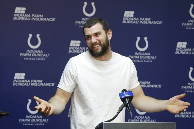 Indianapolis Colts quarterback Andrew Luck speaks during a news conference at the NFL football team's facility, Monday, April 15, 2019, in Indianapolis. (AP Photo/Darron Cummings)