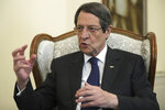 Cyprus' president Nicos Anastasiades talks during an interview with the Associated Press at the presidential palace in capital Nicosia, Cyprus, Tuesday Sept. 17, 2019. Anastasiades says Turkey's