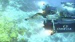 An image taken from video issued by Nekton shows a submersible from the vessel the Ocean Zephyr during a descent into the Indian Ocean off Alphonse Atoll near the Seychelles, Tuesday March 12, 2019. Members of the British-led Nekton research team boarded two submersible vessels and descended into the waters off the Seychelles on Tuesday, marking a defining moment in their mission to document changes to the Indian Ocean. The submersibles will be battling strong undersea currents and potentially challenging weather conditions as they survey the side of an undersea mountain off Alphonse Atoll. (Nekton via AP)