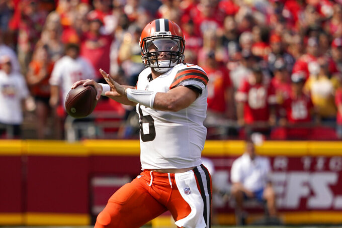 Cleveland Browns quarterback Baker Mayfield throws during the first half of an NFL football game against the Kansas City Chiefs Sunday, Sept. 12, 2021, in Kansas City, Mo. (AP Photo/Ed Zurga)