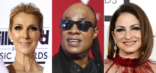 This combination photo shows performers, from left, Celine Dion, Stevie Wonder and Gloria Estefan, who are among the entertainers honoring nurses in a star-studded benefit virtual concert on Thanksgiving. Nurse Heroes Live will stream on the organization's YouTube and Facebook along with LiveXLive on Nov. 26 at 7 p.m. EST. The benefit will provide money for a variety of programs including scholarships for nurses and their children. (AP Photo)