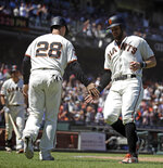 San Francisco Giants' Evan Longoria, right, and Buster Posey (28) celebrate after scoring against the Arizona Diamondbacks in the seventh inning of a baseball game Sunday, June 30, 2019, in San Francisco. (AP Photo/Ben Margot)