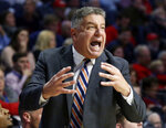 Auburn coach Bruce Pearl reacts to an official's call against his team during the second half of an NCAA college basketball game against Mississippi, Wednesday, Jan. 9, 2019, in Oxford, Miss. Mississippi won 82-67. (AP Photo/Rogelio V. Solis)