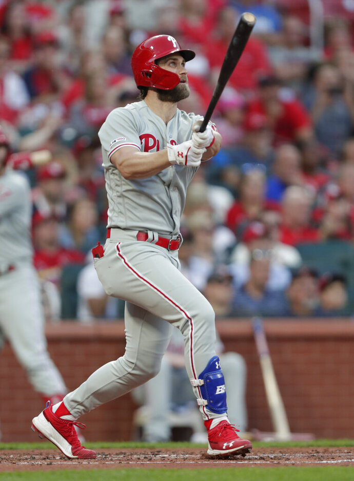 Philadelphia Phillies' Bryce Harper watches his grand slam during the second inning of the team's baseball game against the St. Louis Cardinals, Tuesday, May 7, 2019, in St. Louis.(AP Photo/Tom Gannam)