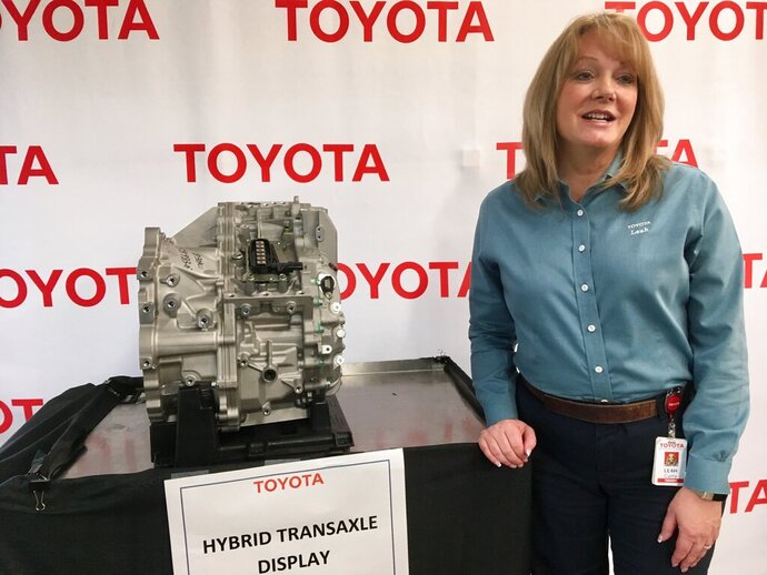 Leah Curry, president of Toyota Motor Manufacturing West Virginia, speaks at a news conference Thursday, March 14, 2019, at the company's facility in Buffalo, W.Va.  Toyota Motor Corp. announced it is investing an additional $750 million at five U.S. plants that will bring nearly 600 new jobs. (AP Photo/John Raby)